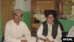 Campaigning in remote villages, Akmina (right) is accompanied by her male relatives