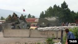 Блок-пост российских миротворцев у деревни Эргнети