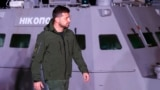 UKRAINE -- Ukrainian President Volodymyr Zelenskiy visits the port of Ochakiv to greet the three Ukraine's naval ships, captured in the Kerch Strait in November 2018 and then returned by Russia, in the port of Ochakiv, November 20, 2019