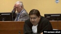 Ratko Mladić i branitelj Dejan Ivetić u sudnici 11.9.2013.