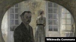 Вільгельм Хамэрсхёй, «Партрэт мастака і ягонай жонкі ў люстры» (1911)