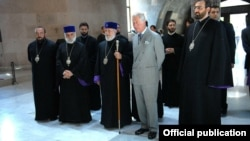 Armenia/UK - Charles, Prince of Wales, meets with Garegin II, Catholicos of All Armenians, at the Mother See of Holy Echmiadzin, 30May2013