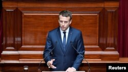 FRANCE -- French President Emmanuel Macron delivers a speech during a special congress gathering both houses of parliament (National Assembly and Senate) at the Versailles Palace, near Paris, France, July 3, 2017.