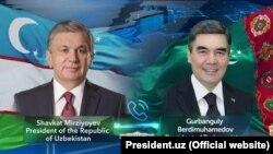 Президенты Узбекистана и Туркменистана Шавкат Мирзияев и Гурбангулы Бердымухамедов.