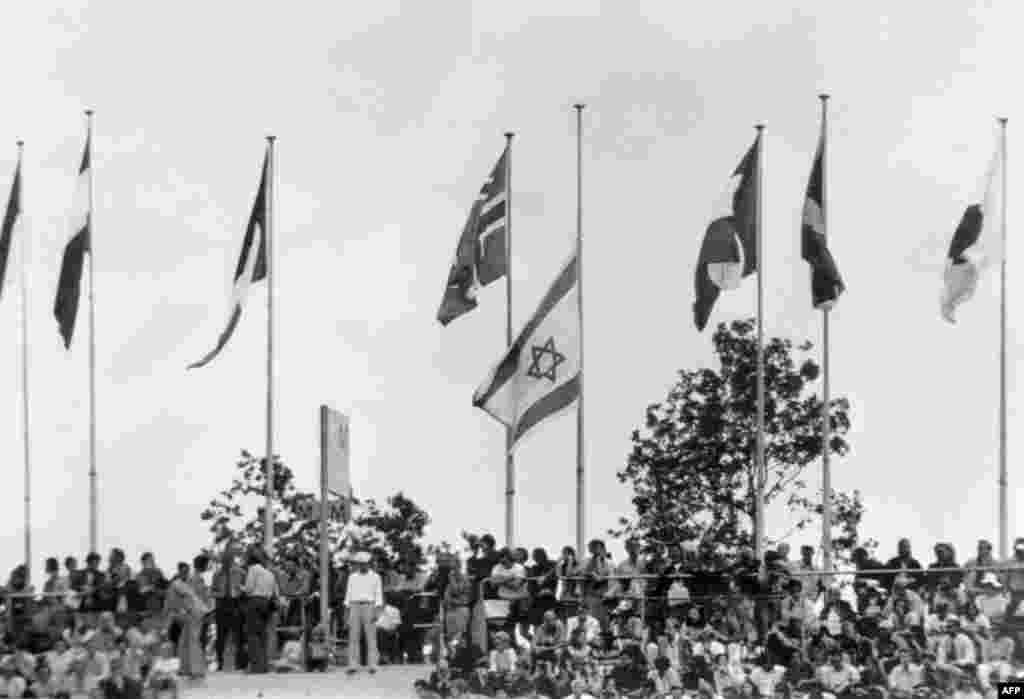 The Israeli flag flies at half-mast alongside other national flags at Olympic Stadium in Munich on September 10, 1972.