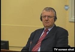 Vojislav Seselj during trial proceedings in The Hague in April 2012