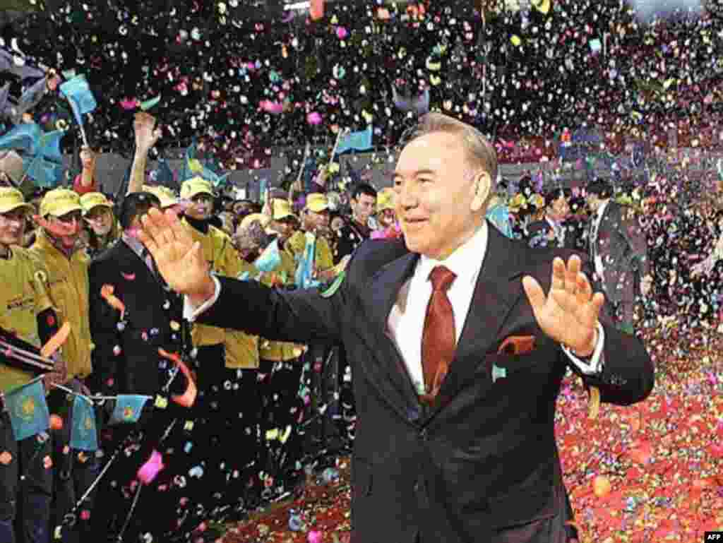 Nazarbaev celebrates his reelection in December 2005. - While rights groups decry the Kazakh leader's strangle-hold on the press and the democratic process, there are millions of Kazakhs who support him - as long as economic opportunities remain open to them.