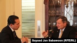Karl Eikenberry, the outgoing U.S. ambassador for Afghanistan, speaks during an exclusive interview with Rahimullah Samandar, the bureau chief of RFE/RL's Radio Free Afghanistan, in Kabul on July 14.