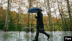 Iran – An Iranian men with umbrella in the rainy weather is walking in a Tehran's park, November 20, 2011.