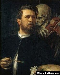 Арнольд Бёклін, «Аўтапартрэт са Сьмерцю, якая грае на скрыпцы» (1872)