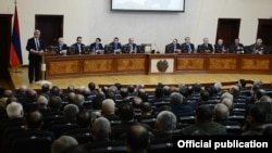 Armenia - President Serzh Sarkisian addresses a meeting of senior state officials and army commanders at the Defense Ministry in Yerevan, 15Jan2013.