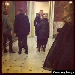 Елена Мизулина и Павел Астахов в кулуарах женевского форума