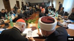 Clerics and religious leaders gather during the first Catholic-Muslim forum.