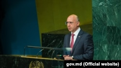 Moldovan Prime Minister Pavel Filip at UN headquarters on September 22.