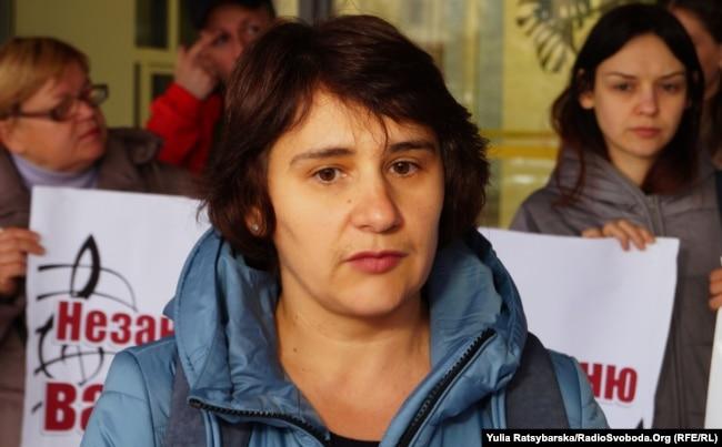 Оксана Котляр, координатор акції протесту батьків учнів шкіл естетичного виховання. Дніпро, 24 жовтня 2018 року