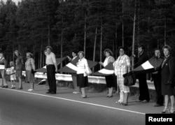 Lanțul de demonstranți, în apropiere de Riga, 23 august 1989