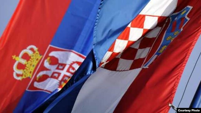 Croatia - Flags of Croatia and Serbia, undated