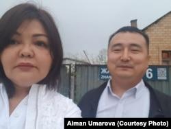 Lawyer Ayman Umarova (left) with Serikzhan Bilash (file photo)