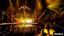 Сцена, на которой выступят участники финал музыкального конкурса «Евровидение». Мальмё, 2 мая 2013 года.