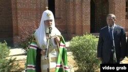 Патриарх Кирилл освящает закладку новой церкви у здания Академии Федеральной службы безопасности