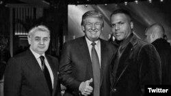 Хатамжон Кетмонов (слева) и Дональд Трамп (в центре). Фотомонтаж, опубликованный на лже-аккаунте кандидата.