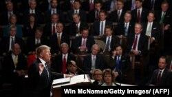 Президент США Дональд Трамп выступает перед обеими палатами конгресса США. Вашингтон, 28 февраля 2017 года.