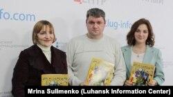 Презентация детского журнала «Вежливые человечки» в Луганске. В центре - Сергей Колесников, главный редактор.