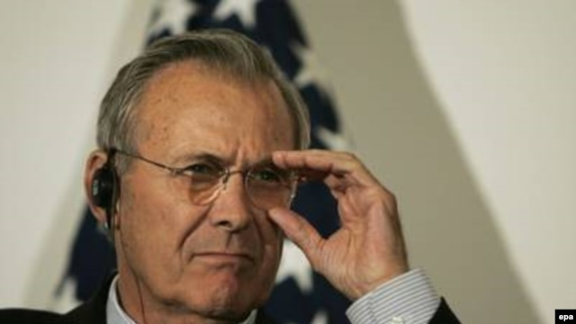 "Donald Rumsfeld, possibly listening to latest ""Blender"" podcast."