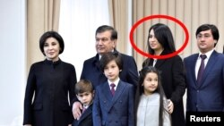 Uzbek President Shavkat Mirziyoev's family, including daughter Saida Mirziyoeva (file photo)