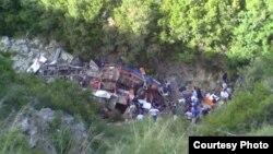 Местото на автобуската несреќа.