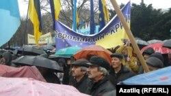 Мәҗлес оештырган кырымтатарлар митингы