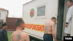 "Russian prisoners being examined for tuberculosis. Russian data on TB and other diseases only reports ""first-time"" cases. Relapses, reoccurrences, and repeat infections are not included."