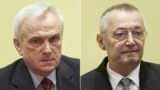 Netherlands -- A combo photo shows Serbia's former secret police chief deputy Franko Simatovic (R) and Serbia's former secret police chief Jovica Stanisic at the International Criminal Tribunal for the former Yugoslavia (ICTY) in The Hague, 30May2013