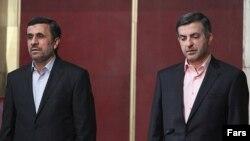Iranian President Mahmud Ahmadinejad (left) with his adviser and possible successor, Esfandiari Rahim Mashaei