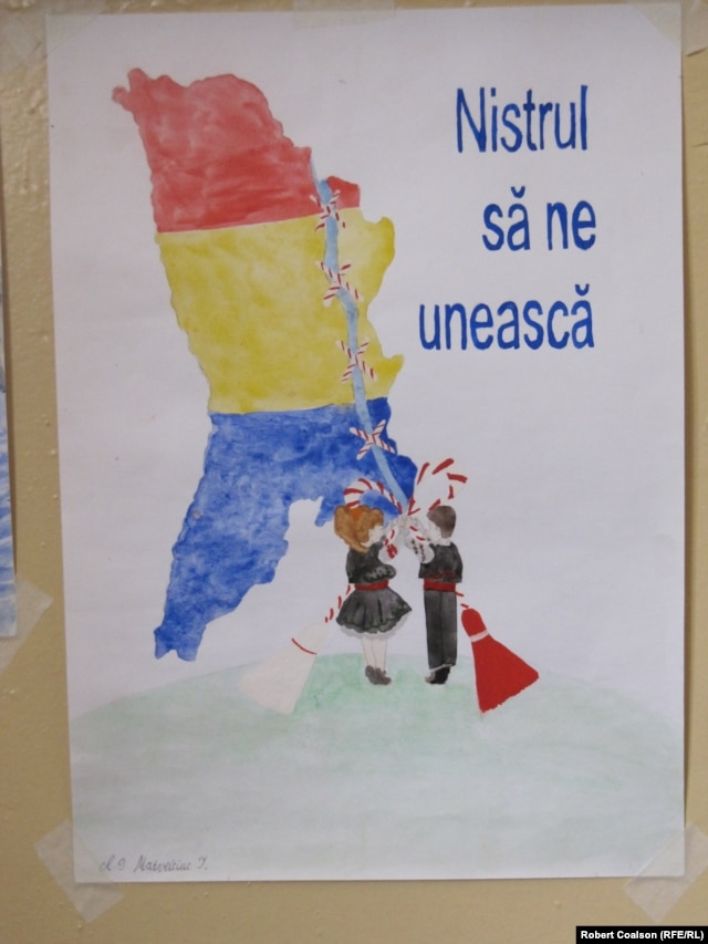A child's drawing at a school in Dorotcaia shows Transdniester being sewn back onto Moldova.