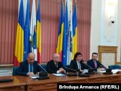 Ilie Bolojan, Emil Boc, Nicolae Robu și Gheorghe Falcă, Timișoara, 8 decembrie 2018