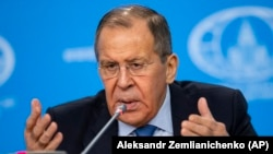 Acting Russian Foreign Minister Sergei Lavrov speaking at his annual round-up news conference in Moscow on January 17.
