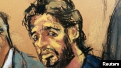 Turkish-Iranian businessman Reza Zarrab in a courtroom sketch