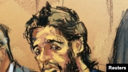 U.S. -- Turkish gold trader Reza Zarrab is shown in this court room sketch as he appears in Manhattan federal court in New York, April 24, 2017