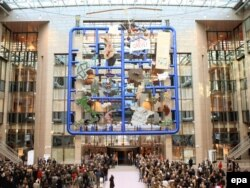 "David Cerny's ""Entropa"" in the atrium of the EU Council headquarters in Brussels"