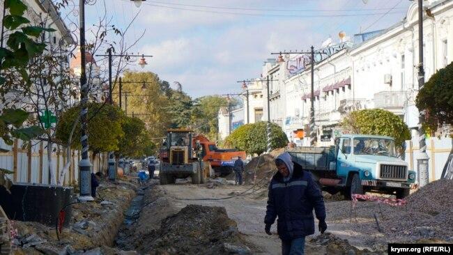 Реконструкция улицы Карла Маркса в Симферополе в октябре 2016 года