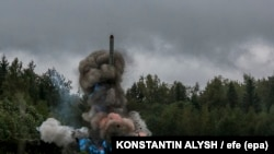 A Russian tactical missile Iskander-M fired during the Zapad-2017 military exercises last month