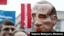 Акция в поддержку Алексея Навального в Москве, январь 2021 года