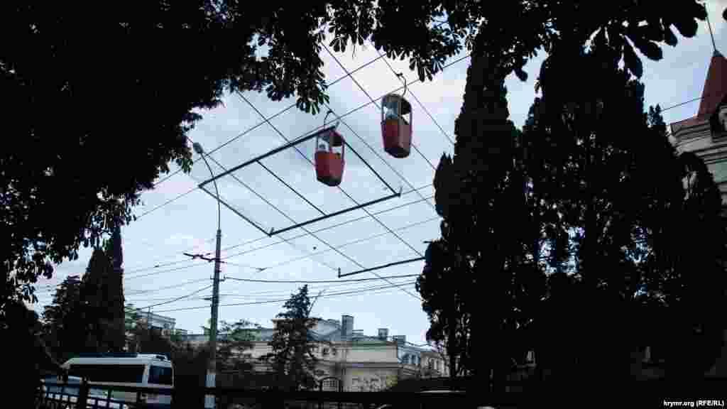 """""""Yalta-Gorka"""" alatlı yol. Onıñ kirişi Yalta merkezinde, """"Tavrida"""" musafirhanesiniñ binası yanında yerleşken."""