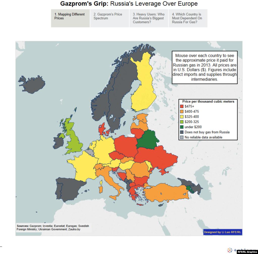 Карта разницы цен на газ