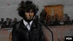Джохар Царнаев на рисунке, сделанном в зале суда