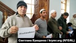 Qırımtatarlar Edem Bekirovnıñ azat etilmesi içün dua etti, Herson vilâyeti, Novooleksiyıvka qasabası, 2018 senesi dekabrniñ 21-i