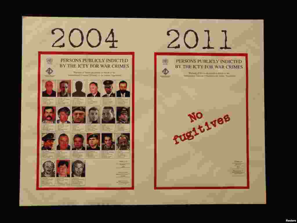 Posters with pictures of people indicted for war crimes from 2004 and 2011 are seen at the ICTY.