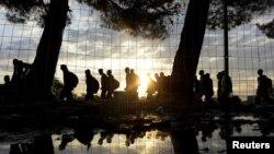 Греция-Македония чегарасидаги суриялик қочқинлар, Идомени қишлоғи, 2015 йил 14 сентябри.