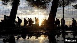 Сирийские беженцы на границе Греции и Македонии